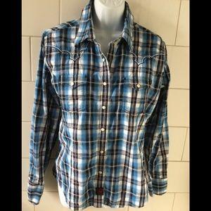 Panhandle Slim Western Plaid Snap Shirt L